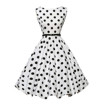 Womens summer dresses 2017 retro vintage rockabilly clothing style black white 1950s polka dot swing dress pattern print A61168