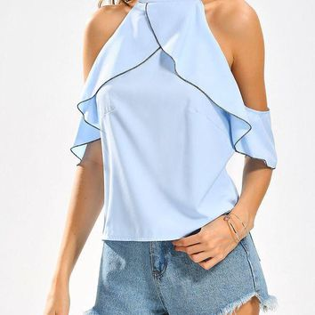 Cold Shoulder Ruffles Stand Collar Blouse H 8-12
