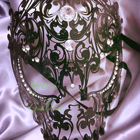 "Halloween Special Venetian Masquerade Ball Skull Mask ""The Grim Reaper"" Designed with Metal Laser Cut and Sparkling Swarovski Rhinestones"