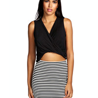 Sleeveless V-Neck Ruched Top