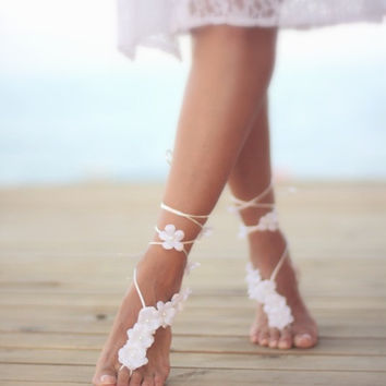Summer flowers barefoot sandal, beach wedding barefoot sandal,nude shoes,bridal accessories