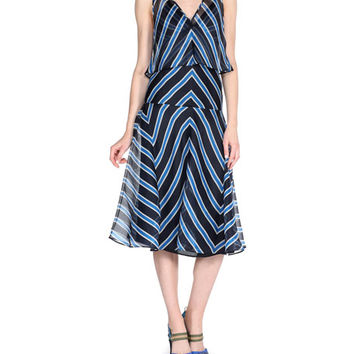 Fendi Chevron-Striped Dress w/Capelet