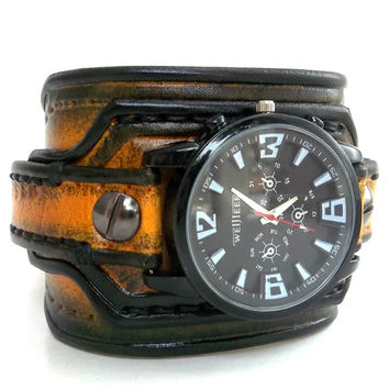 Men's watch, Leather Wrist Watch, Leather Cuff, Bracelet Watch, Handmade, Gift, Black and Yellow