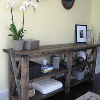 Rustic X Distressed Handmade Console / Media Table in Ebony
