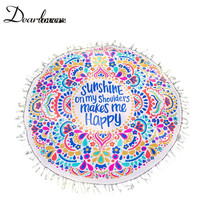 Dear lover New 2016 Sunshine Happy Round Beach Towel Blanket Sandy Towels Fashion Beach Dress Women LC42060