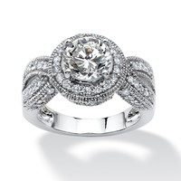 2.85 TCW Round Cubic Zirconia Halo Twisted Shank Ring in Platinum over Sterling Silver