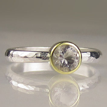 Herkimer Diamond Engagement Ring-18k Yellow Gold and Sterling Silver