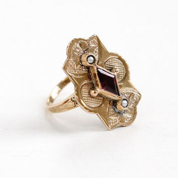 Antique Victorian 10k Rose Gold Amethyst and Seed Pearl Ring - Vintage Size 4.5 Late 1800s Shield Fine Jewelry