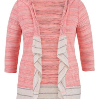 Plus Size - Striped Trim Hacci Open Front Blanket Cardigan - Pink