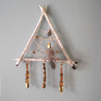 Dream Catcher, Triangle Dream Catcher, Bohemian Dream Catcher, Branch Dream catcher, White Dream Catcher , Small Dream Catcher, Tribal Decor
