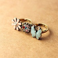 Fresh Sweet Style Disc-Shaped Flower and Butterfly Shape Rhinestone Embellished Double Finger Design Finger Ring For Women