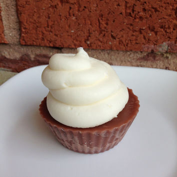 Chocolate Cupcake Candle with Butter Cream Frosting, Dessert Candle, Bakery Candle, Food Candle, Party Favors