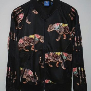 adidas Originals Flower Leopard Print Jacket Coat Sweatshirt
