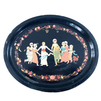 Vintage Tole Tray Hand Painted Metal Serving Tray with Children Dancing in a Circle Fruit Border Colonial Dress Large Shabby Chic Platter