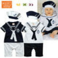 2014 Baby Boy Sailor Romper Infantis 2pcs Set Grow Newborn Girl Outfit Summer Marine Navy White Color Shirt Shorts,Tie Hat 0-24M - Default
