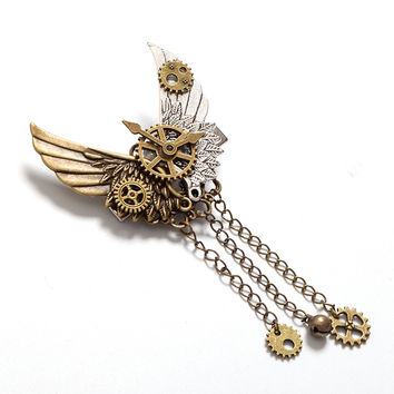 1pc Girls Steampunk Gear Wings Hair Clip Goth Punk Vintage Lolita Lady Headwear hair accessories
