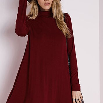 Emma Mock Neck Swing Dress - Burgundy RESTOCKED!