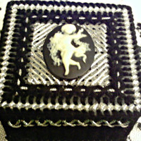 Angel Cameo Black And Silver Trinket Box
