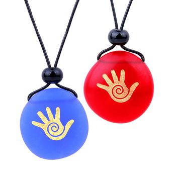 Frosted Sea Glass Stones Buddha Magic Energy Hand Love Couples BFF Set Amulets Royal Blue Red Necklaces