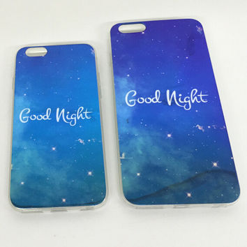 GOOD NIGHT Colorful Reflection Rubber creative case for iPhone 5s 6 6s creative case iPhone 6 6s Plus Gift-76
