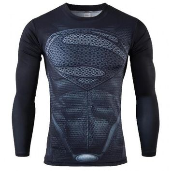 2016 Compression Armour Base Layer Long Sleeve Thermal Under Top Tee Shirt men fitness T shirt