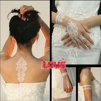 Wedding Accessory Women/Lady 1 Sheet Random Style Bride White Henna Ink Lace Temporary Flash Tattoo Inspired Stickers = 5660916929