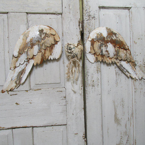 Distressed angel wings and heart wall from anitasperodesign on for Angel wings wall decoration