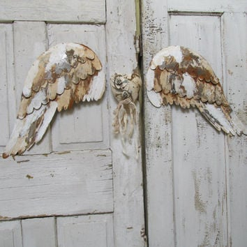 Distressed angel wings and heart wall decor large metal rusted peeling wings wall hanging aged shabby cottage home decor Anita Spero Design