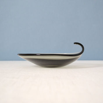 Vintage Per Lutken Smoked Glass Dish with Curled Lip for Holmegaard