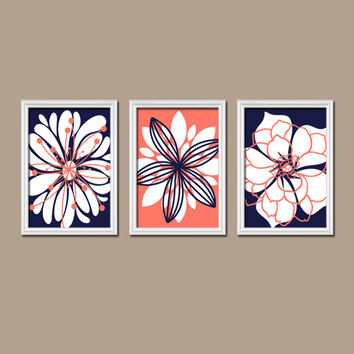 Navy Coral Wall Art CANVAS or Prints Nursery Wall Art Bedroom Wall Art Bathroom Wall Art Flower Petal Burst Floral Bloom Set of 3