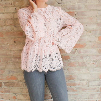 Anastasia Lace Bell Sleeve Top - Blush