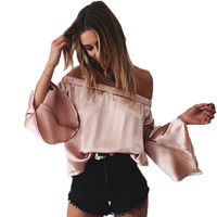 GT102 Women Sexy Off Shoulder Bell Sleeve Cool Silk Satin Slip Blouse Shirt Office Blouse Woman Tops OL Casual Blusas Female