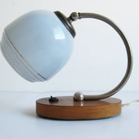 Vintage Art Deco / Bauhaus Style 1950's Lamp/ Light Blue Glass Shade with Wooden Base #artdeco#bauhaus#desklamp#lightblue#1950s