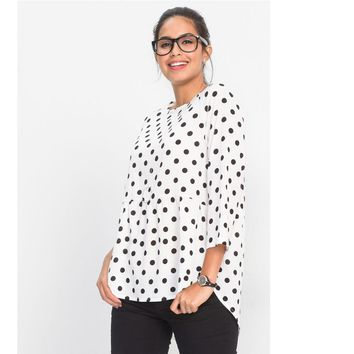Fashion New Blouse Women Polka Dot Tops Three Quarter Sleeve Irregular O Neck Tops Blusas Black White Shirt