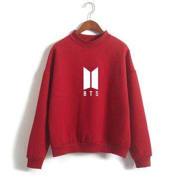 KPOP BTS Bangtan Boys Army Hot Sell  Women Sweatshirt Round Neck Velvet Hoodies Letter Printed Pullover Harajuku Casual Women Clothes Crop Top AT_89_10