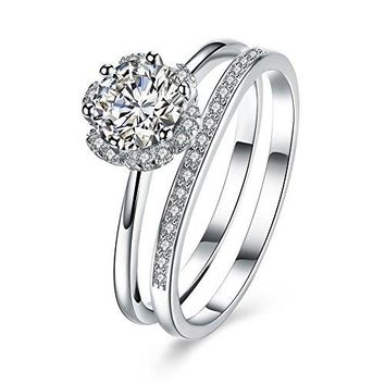 BALANSOHO 925 Sterling Silver CZ Flower Halo Wedding Ring Sets Engagement Anniversary Ring Bridal Set Women Size 8
