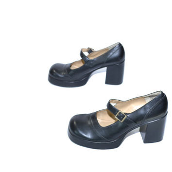 Vintage Black Mudd Mary Jane Shoes Black Mary Janes Black Chunky Heel Shoes 90s Mary Janes Size 10