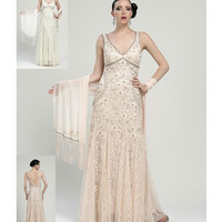 Sue Wong N1118 Beige Embroidered Empire Lace Long Dress Fall 2015