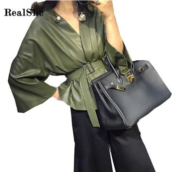 RealShe Autumn Green Faux Leather Jacket Women Jacket Zip Belt Coats chaqueta Blazer PU Jack Rock cuir femme casaco 2017
