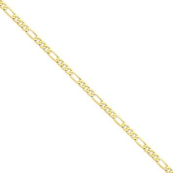 14K Yellow Gold 5.25mm Flat Figaro Chain Necklace - Fine Jewelry Gift