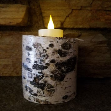 Birch Glitter Candle Holder, Holds a Flameless LED Tealight Candle, Bring Nature Indoors, Holiday Decor, Unique Gift, Rustic Decor, GLT136