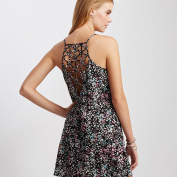 Ditsy Floral Caged-Back Slip Dress