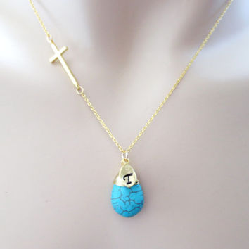 Turquoise cross, Cross turquoise necklace, turquoise, silver cross necklace, modern necklace, bridesmaid necklace