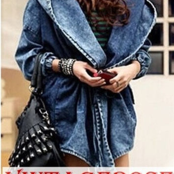 Vintagerose-Fashion Lady Denim Trench Coat Hoodie Hooded Outerwear Jean Jacket Free Size (Size: M, Color: Blue) = 1930018244