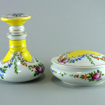 Namsey Cologne Bottle and Powder Box Vintage 2 Piece Hand Painted Porcelain Dresser Set Beautiful Cottage Chic