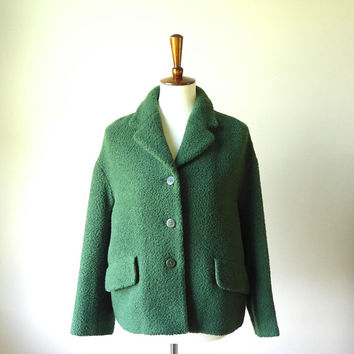 1990s Laura Ashley green wool boucle drop shoulder short coat, swing jacket, retro style