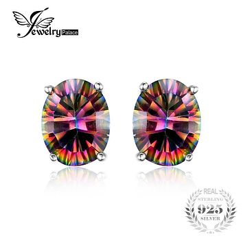 JewelryPalace 7x5mm Oval Cut 1.5ct Fire Rainbow Mystic Topaz Earrings Studs Solid 925 Sterling Silver Women Vintage Fashion
