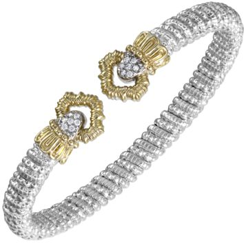 Vahan Sterling Silver & 14K Yellow Gold Diamond Gold Bangle Bracelet