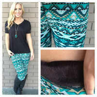 Emerald & Mint Aztec Irish Fur Leggings
