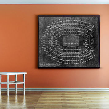 Vintage Black and White Style Mile High Stadium Blueprint on Photo Paper Denver Broncos Sports Tickets Wall Hanging Art Home Decor Football